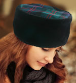 Faux Fur Pillbox with Tartan Top